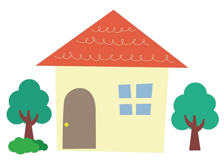 庭に木が二本生えている家のイラスト